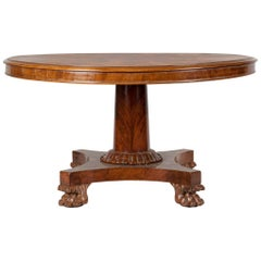 English Empire Style Mahogany Pedestal Dining Table