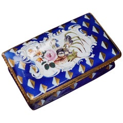 English Enamel Snuff Box, Blue with Flower Panel, circa 1780