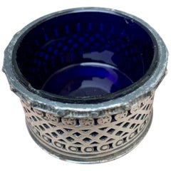 English EPBM Sheffield Silver Salt Cellar with Blue Glass Insert