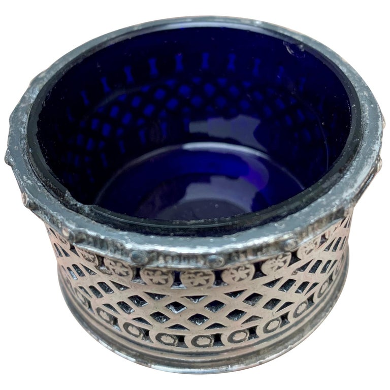 English EPBM Sheffield Silver Salt Cellar with Blue Glass Insert For Sale