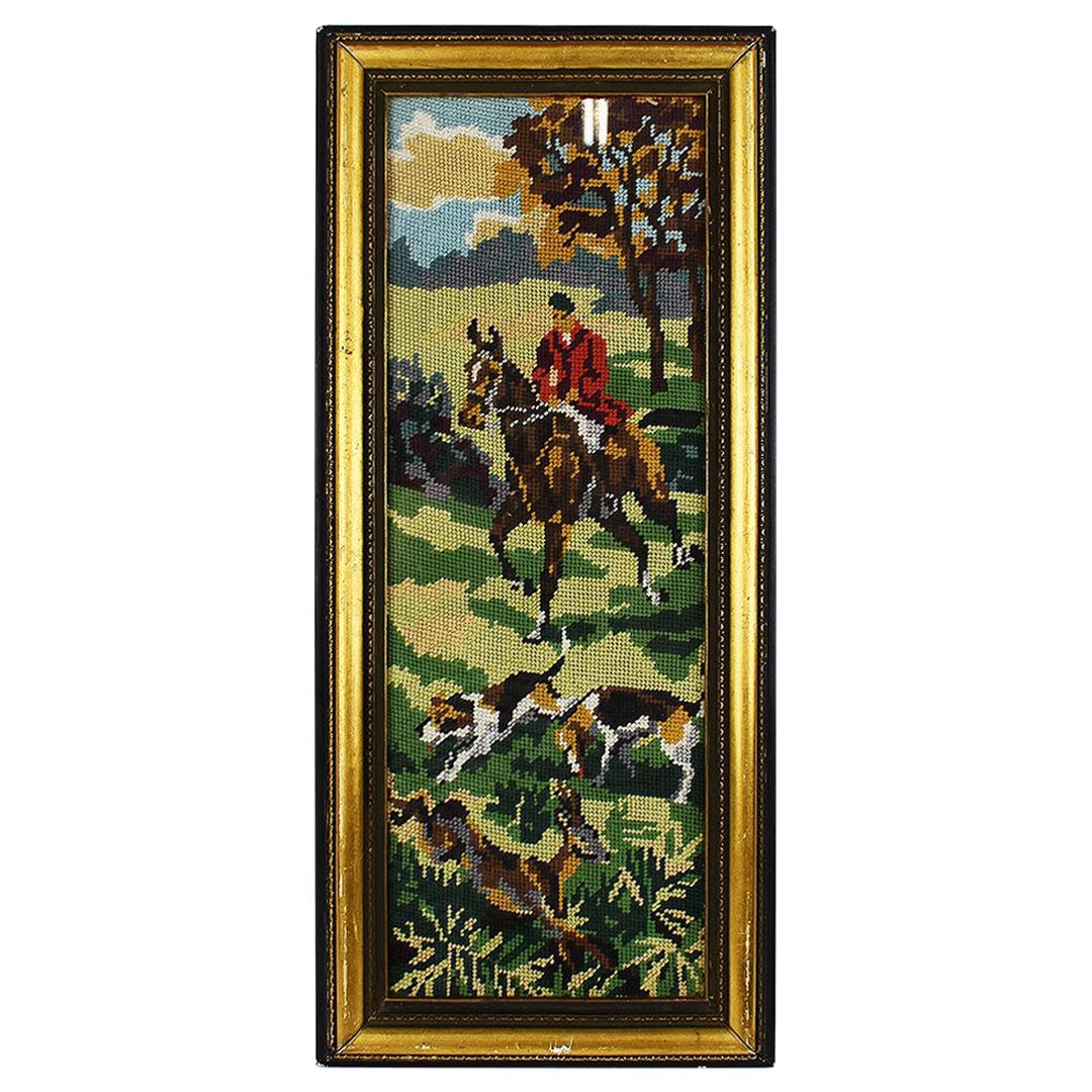 English Equestrian Needlepoint Hunting Scene in Tall Rectangular Giltwood Frame