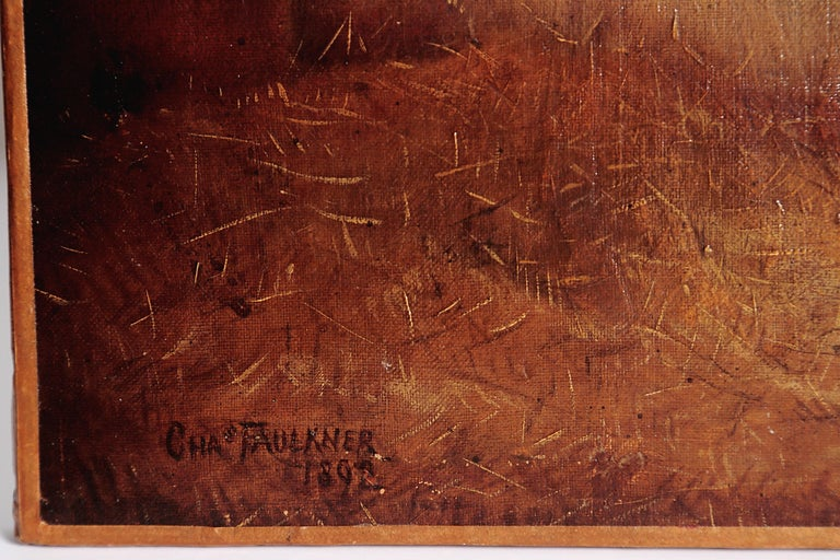 Signed and dated lower left, Chas. Faulkner 1892, marked RATTON bottom center, an English horse portrait depicting horse in stall with hay, re-lined, no frame.