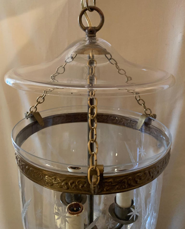 English Etched Star Wheat Glass Bell Jar Lantern Pendent Brass 3 Light Fixture For Sale 1