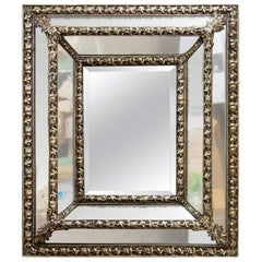 English Faceted Brass and Glass Mirror