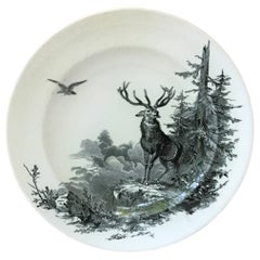 English Faience Hunt Plate Brownfield, circa 1875