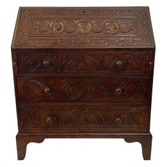 English Fall-Front Secretary Desk in Carved Oak, Circa 1800