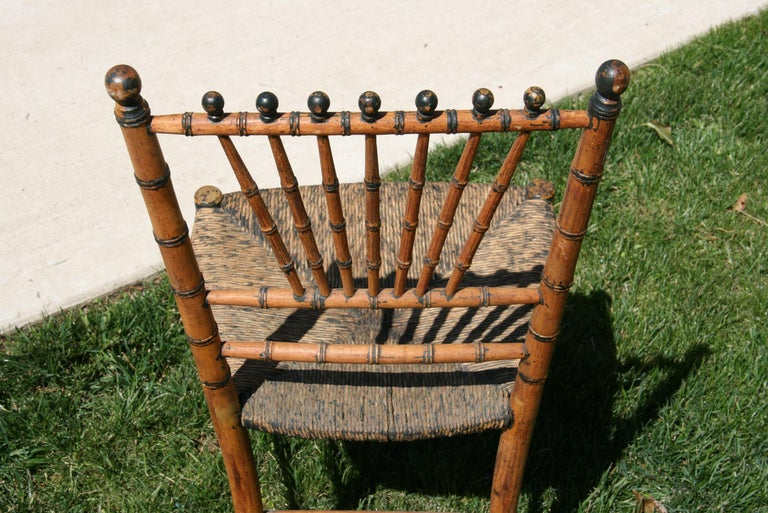 English Faux Bamboo Chair with Rush Seat, Circa 1920's For Sale 5