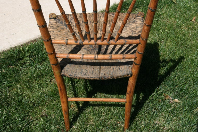 English Faux Bamboo Chair with Rush Seat, Circa 1920's For Sale 6