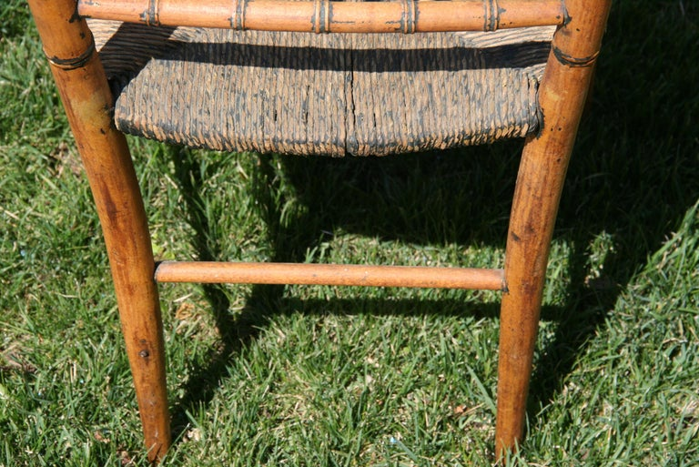 English Faux Bamboo Chair with Rush Seat, Circa 1920's For Sale 7