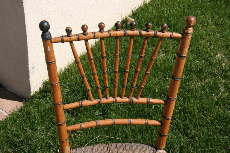 English Faux Bamboo Chair with Rush Seat, Circa 1920's In Good Condition For Sale In Douglas Manor, NY