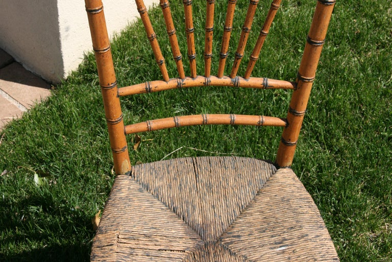Early 20th Century English Faux Bamboo Chair with Rush Seat, Circa 1920's For Sale