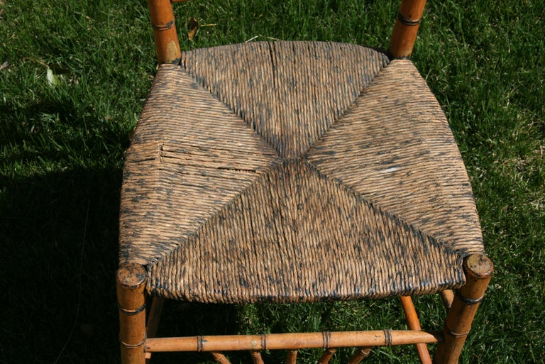 Hardwood English Faux Bamboo Chair with Rush Seat, Circa 1920's For Sale