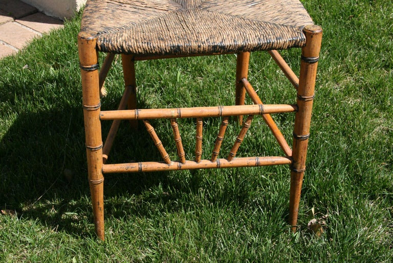 English Faux Bamboo Chair with Rush Seat, Circa 1920's For Sale 1