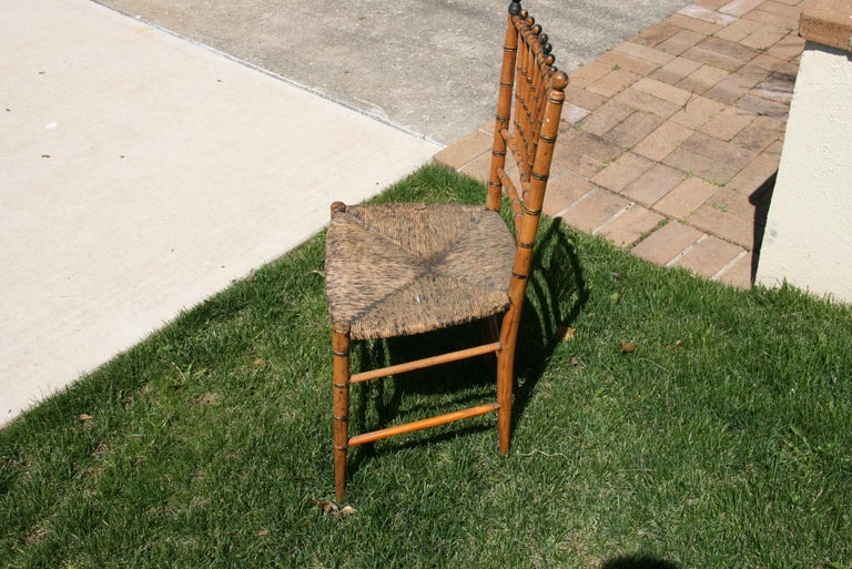 English Faux Bamboo Chair with Rush Seat, Circa 1920's For Sale 2