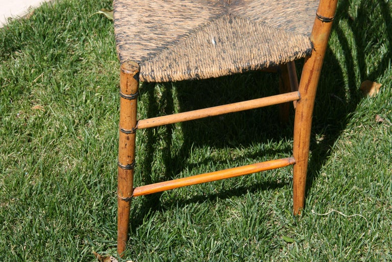 English Faux Bamboo Chair with Rush Seat, Circa 1920's For Sale 3