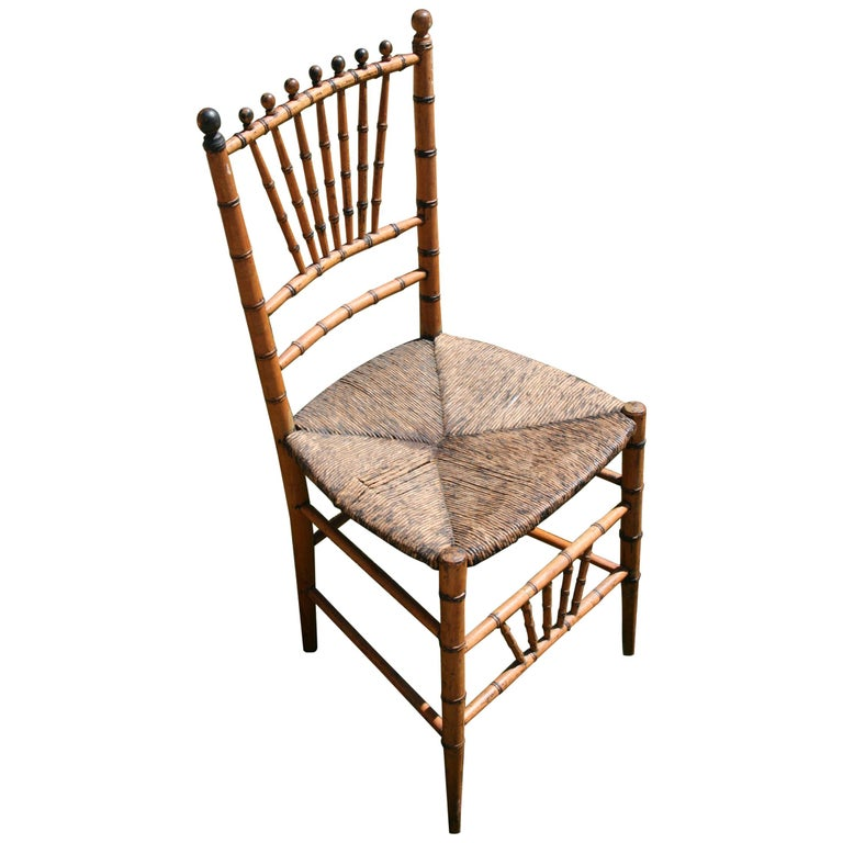 English Faux Bamboo Chair with Rush Seat, Circa 1920's For Sale