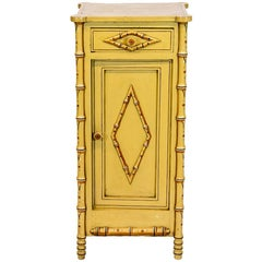 English Faux Bamboo Painted Bed Side Cupboard