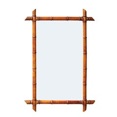 English Faux-Bamboo Wall Mirror from the Early 20th Century with Clear Mirror