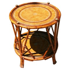 English Faux Burnt Bamboo  Two Level Round Table