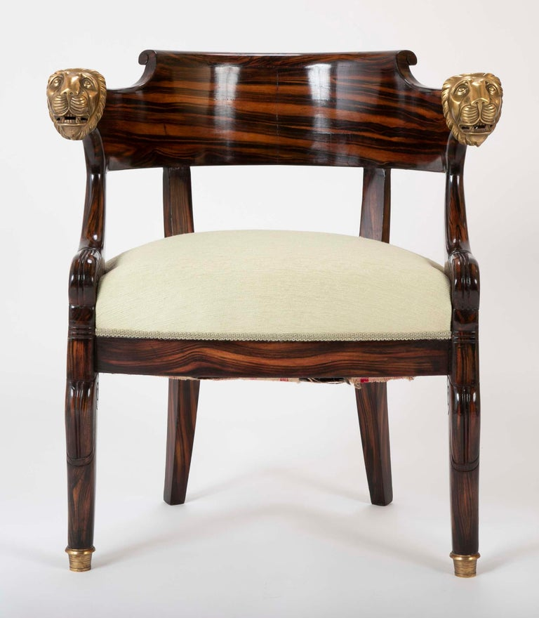 Empire English Faux Calamander Barrel Form Chair with Bronze Lion's Head Mounts For Sale