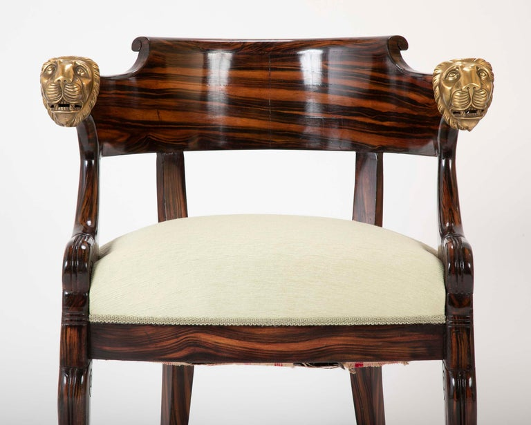 English Faux Calamander Barrel Form Chair with Bronze Lion's Head Mounts In Good Condition For Sale In Stamford, CT