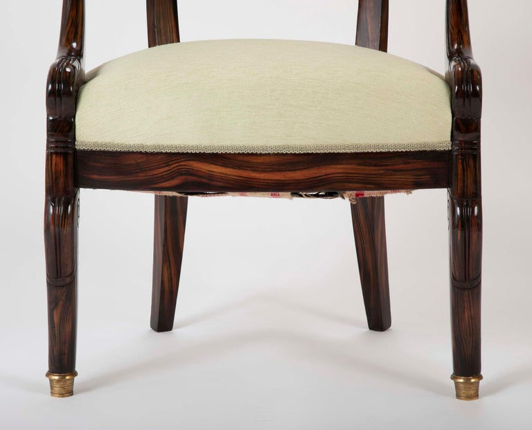 20th Century English Faux Calamander Barrel Form Chair with Bronze Lion's Head Mounts For Sale