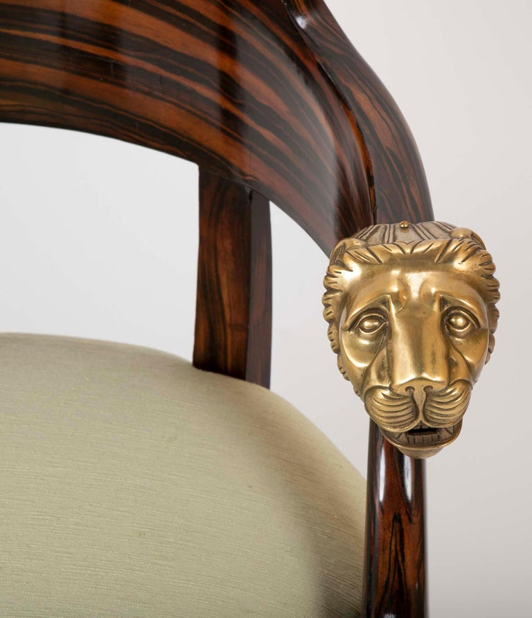 English Faux Calamander Barrel Form Chair with Bronze Lion's Head Mounts For Sale 1