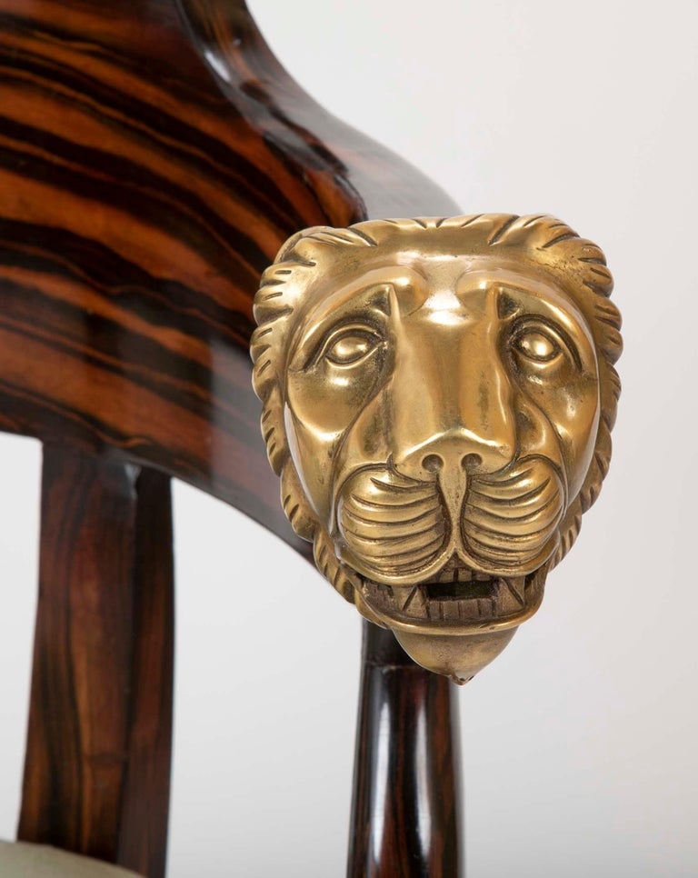 English Faux Calamander Barrel Form Chair with Bronze Lion's Head Mounts For Sale 2
