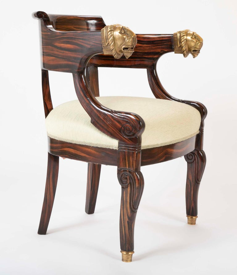 English Faux Calamander Barrel Form Chair with Bronze Lion's Head Mounts For Sale 3