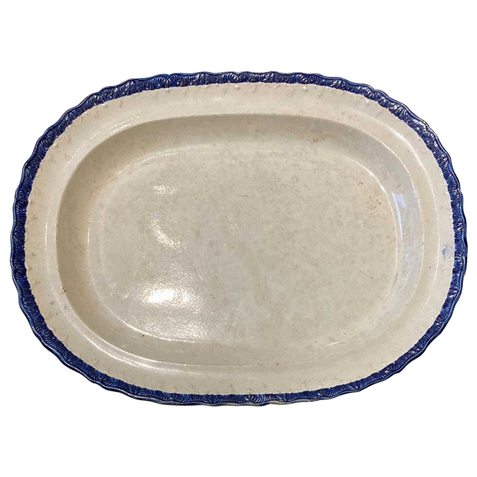 English Featherware Platter, Unmarked, circa 1830