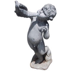 English Figural Lead Fountain with a Young Man Blowing on a Conch Shell, C. 1850