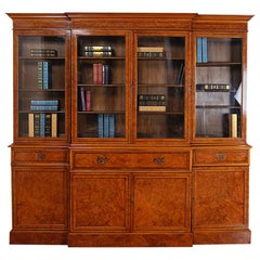 English Figured Maple Breakfront Library Bookcase
