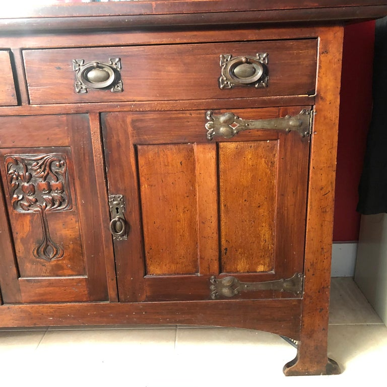 English Fine Antique Arts & Crafts Cotswold Mahogany Cabinet For Sale 5