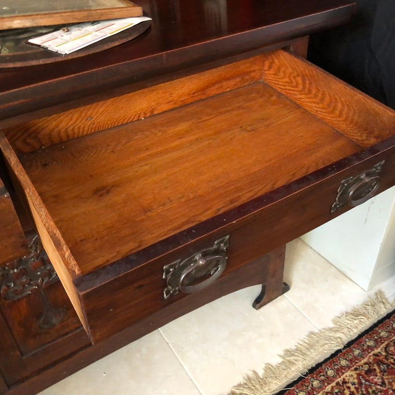 English Fine Antique Arts & Crafts Cotswold Mahogany Cabinet For Sale 6
