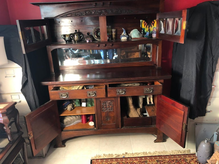 English Fine Antique Arts & Crafts Cotswold Mahogany Cabinet For Sale 9