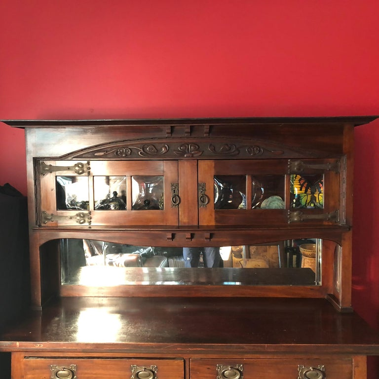 Arts and Crafts English Fine Antique Arts & Crafts Cotswold Mahogany Cabinet For Sale