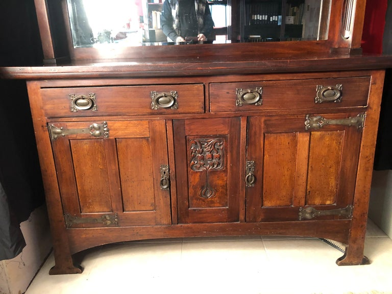 British English Fine Antique Arts & Crafts Cotswold Mahogany Cabinet For Sale