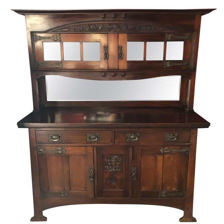 English Fine Antique Arts & Crafts Cotswold Mahogany Cabinet For Sale