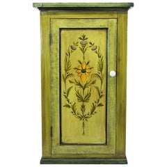 English Floral Painted Cupboard