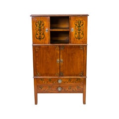 English Floral Painted Satinwood Cabinet
