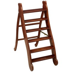 English Folding Library Step Ladder of Mahogany and Brass from the Edwardian Era