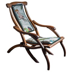 English Folding Mahogany Steamer Deck Chair, Late 19th Century, circa 1890