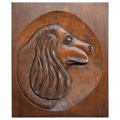 English Folk Art Carved Cocker Spaniel Plaque, circa 1949