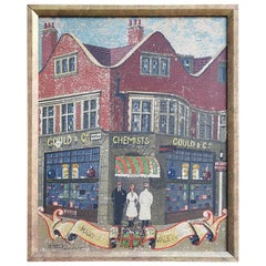 English Folk Art Oil on Canvas Painting a Chemist in Mayfair, circa 1950
