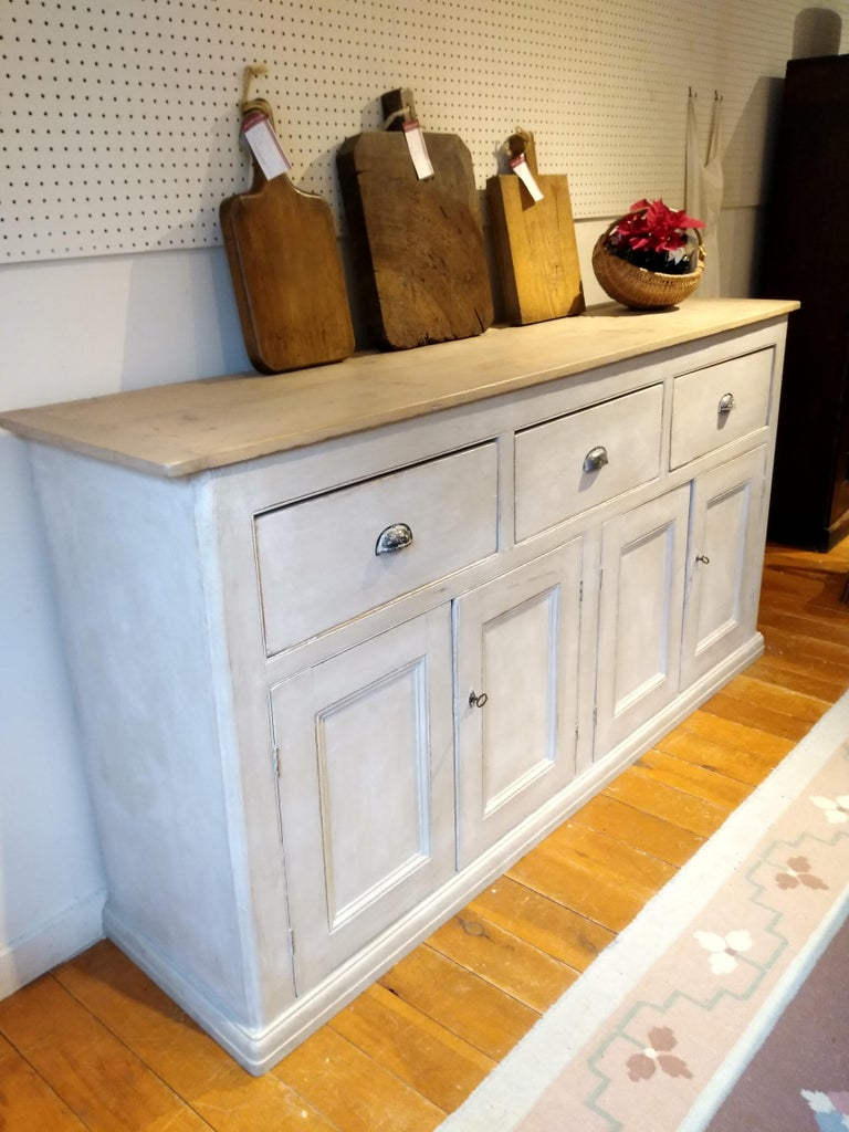 English Four-Door, Three-Drawer Base with Scrubbed Pine Top In Excellent Condition For Sale In Sheffield, MA