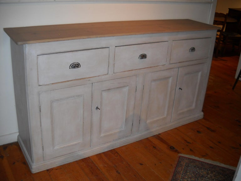 English Four-Door, Three-Drawer Base with Scrubbed Pine Top For Sale 2