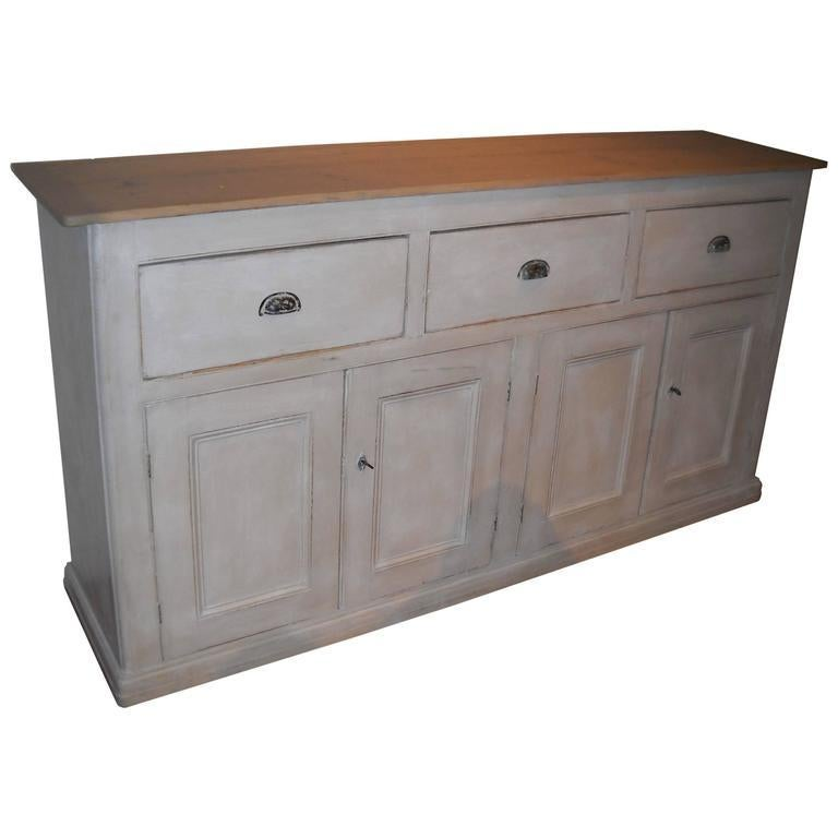 English Four-Door, Three-Drawer Base with Scrubbed Pine Top For Sale