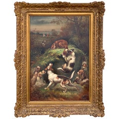 English Fox Hunt Painting, 'Caught at Last' by Charles Dudley, 1906