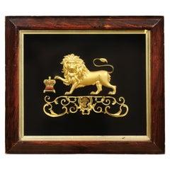 English Framed Gilt Bronze Lion Mounted on Black Velvet, 19th Century