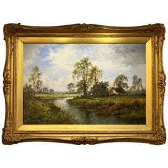 English Framed Oil Painting of a River Landscape by L. Richards
